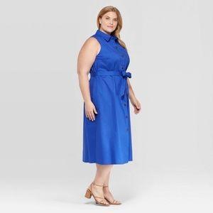 Ava & ViV blue collard midi dress